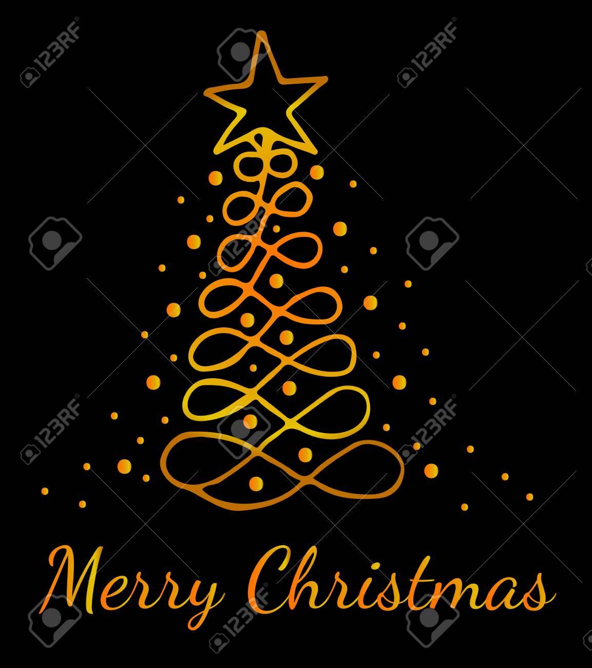 Sfondi Natalizi Oro.Biglietto Di Auguri Di Buon Natale Linea D Oro Con Albero Puo Essere Utilizzato Per Carta Invito Poster Sfondi Texture Cartelli Banner