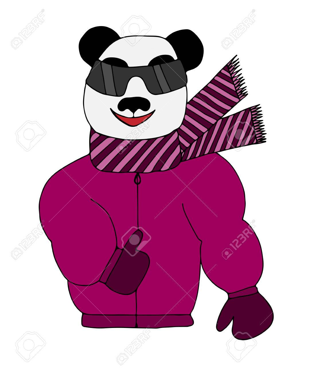 colorful panda is sun glasses in a winter jacket and scarf art