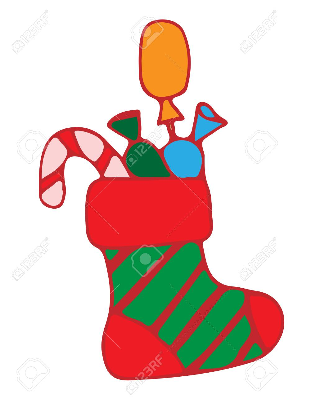 Red Christmas Stocking With Candy Illustration For Greeting