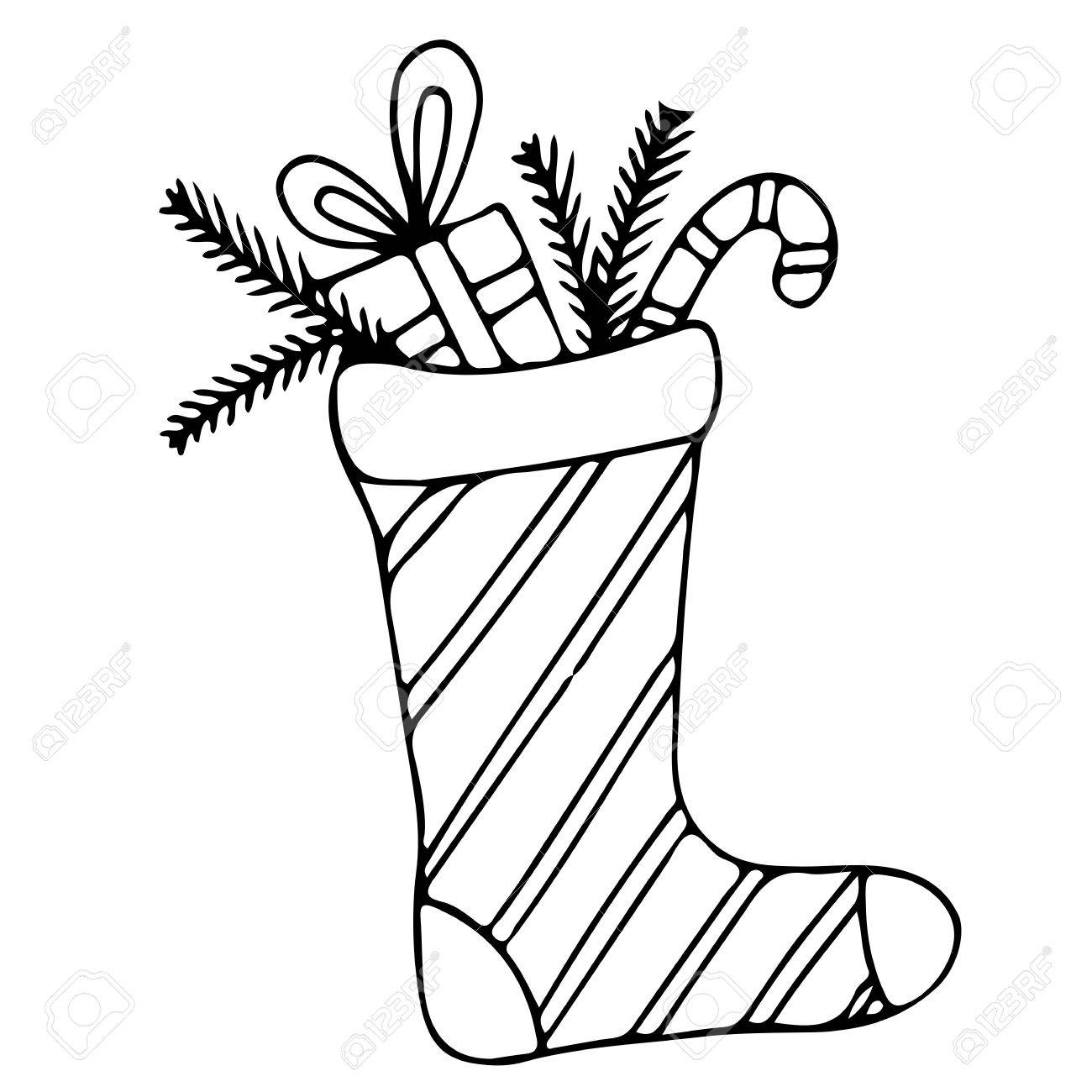 Christmas Stocking Line Drawing.Christmas Stocking With Candy And Gift Mono Color Black Line