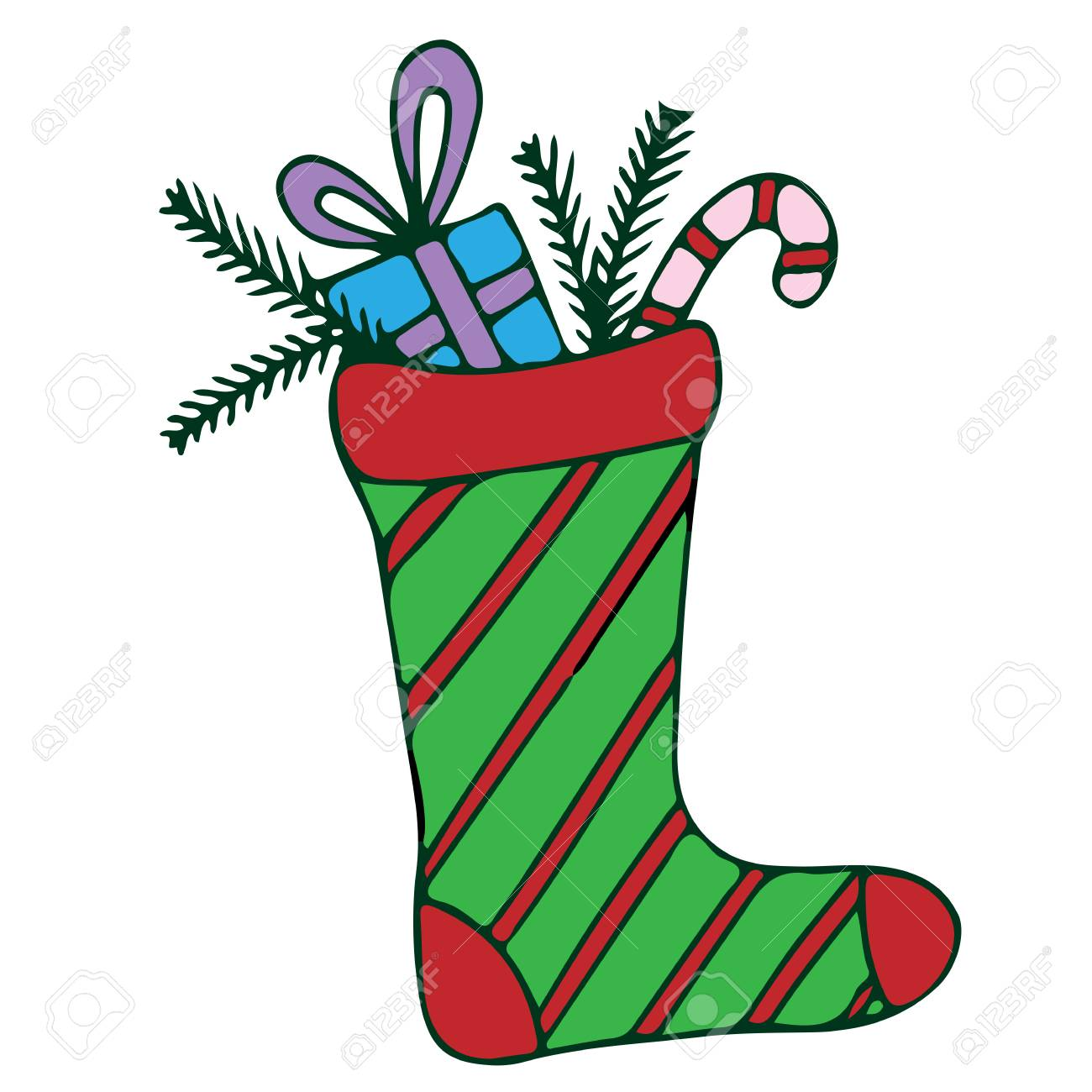 Colorful Christmas Stocking With Candy And Gift Illustration