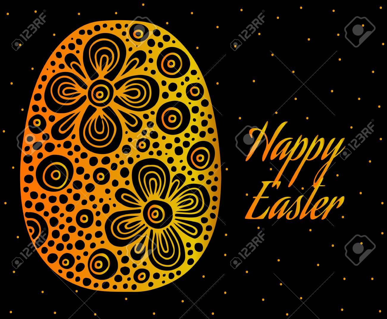Uovo Di Pasqua Astratto Oro Con Iscrizione Buona Pasqua Può Essere