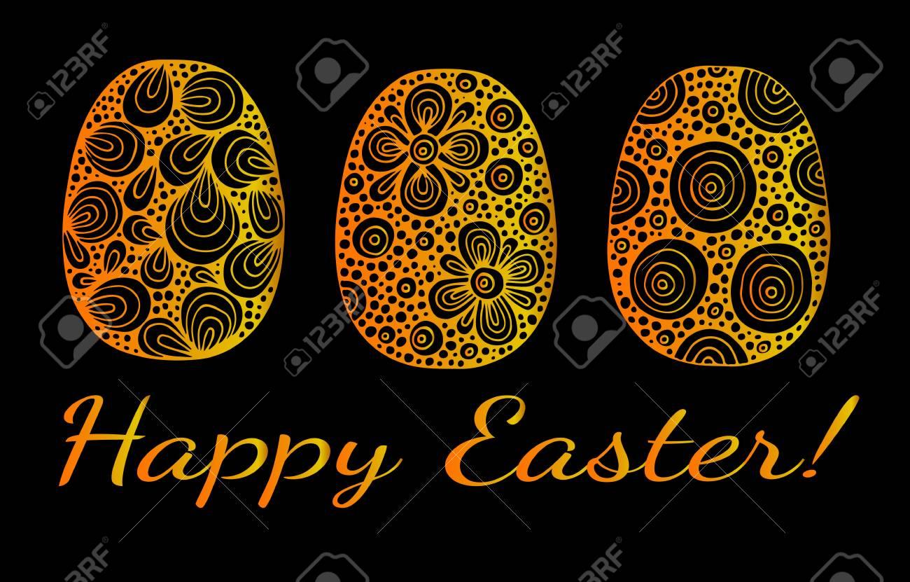 Vettoriale Uovo Dell Oro Di Pasqua Con Iscrizione Buona Pasqua