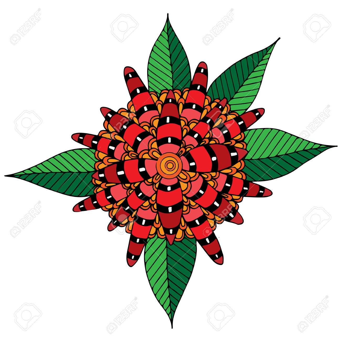 Big Abstract Red Flower With Leaves For Adult Or Child Coloring ...