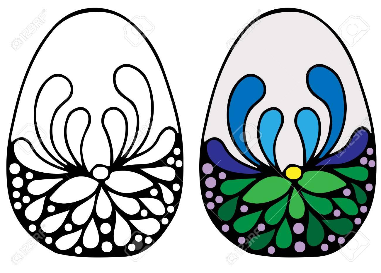 Coloridos Huevos De Pascua Con Flores Para Colorear Libro Para ...