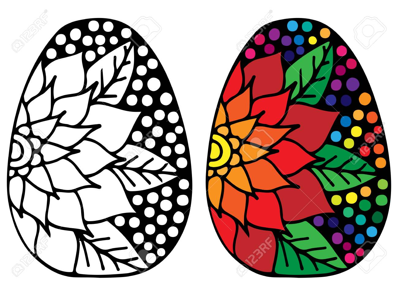 Hand Drawn Easter Egg With Colorful Flower For Coloring Book
