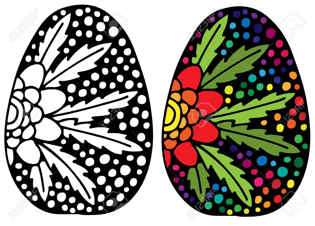 Coloriage Fleur Doranger.Oeuf De Paques Dessines A La Main Avec Fleur D Oranger Pour