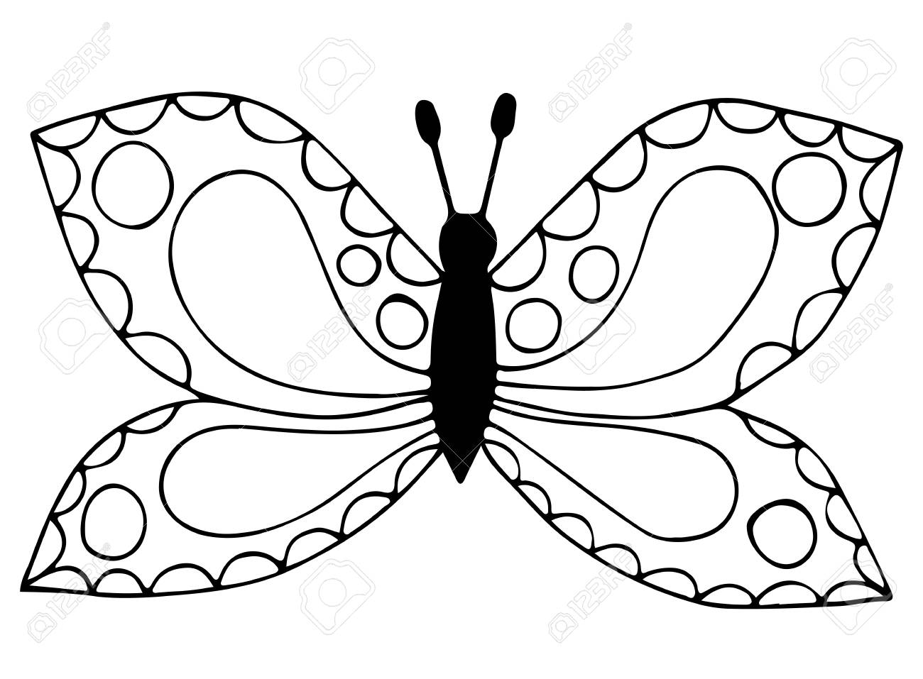 Abstract Black Line Butterfly For Coloring Book, Tattoo, For ...