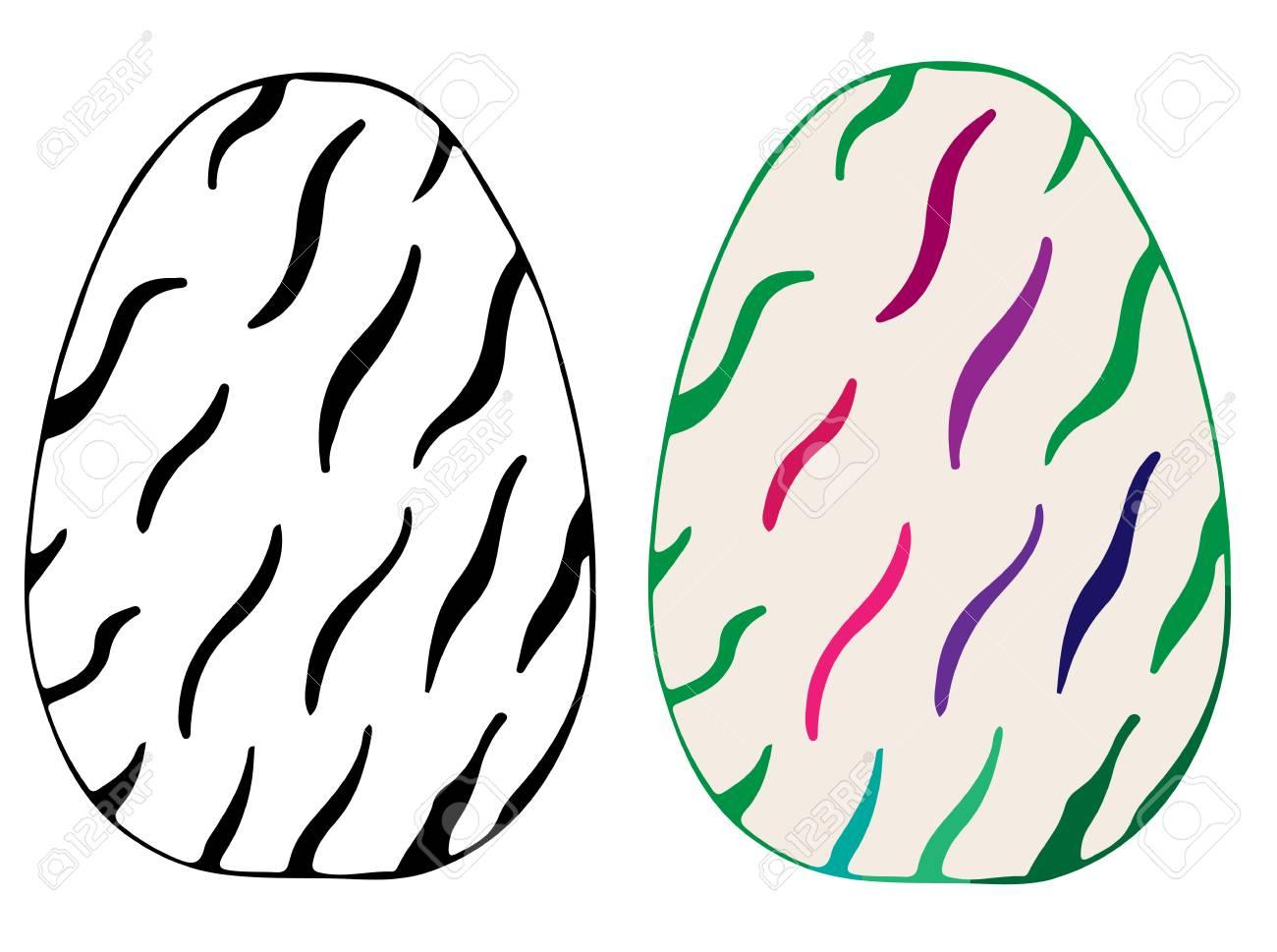 Huevo De Pascua Para Colorear Elementos De Libro Y Diseño. Puede Ser ...