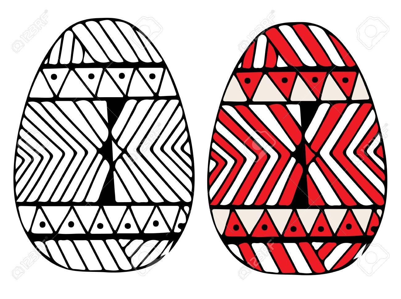 Hand Drawn Black And Red Easter Egg With Abstract Pattern For Coloring Book Design Elements