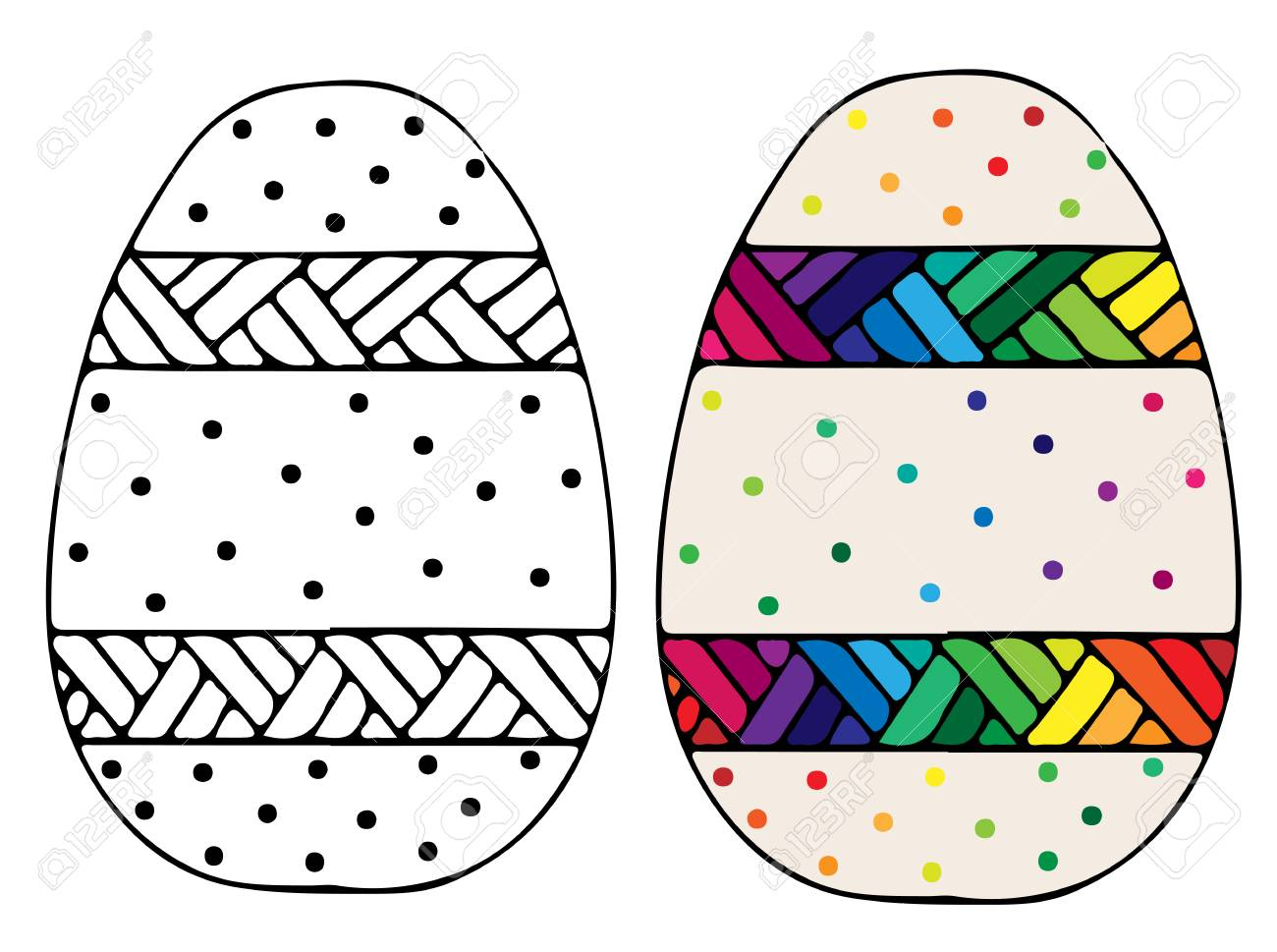 Dibujado A Mano Lindo Huevo De Pascua Con Patrón Abstracto Para ...