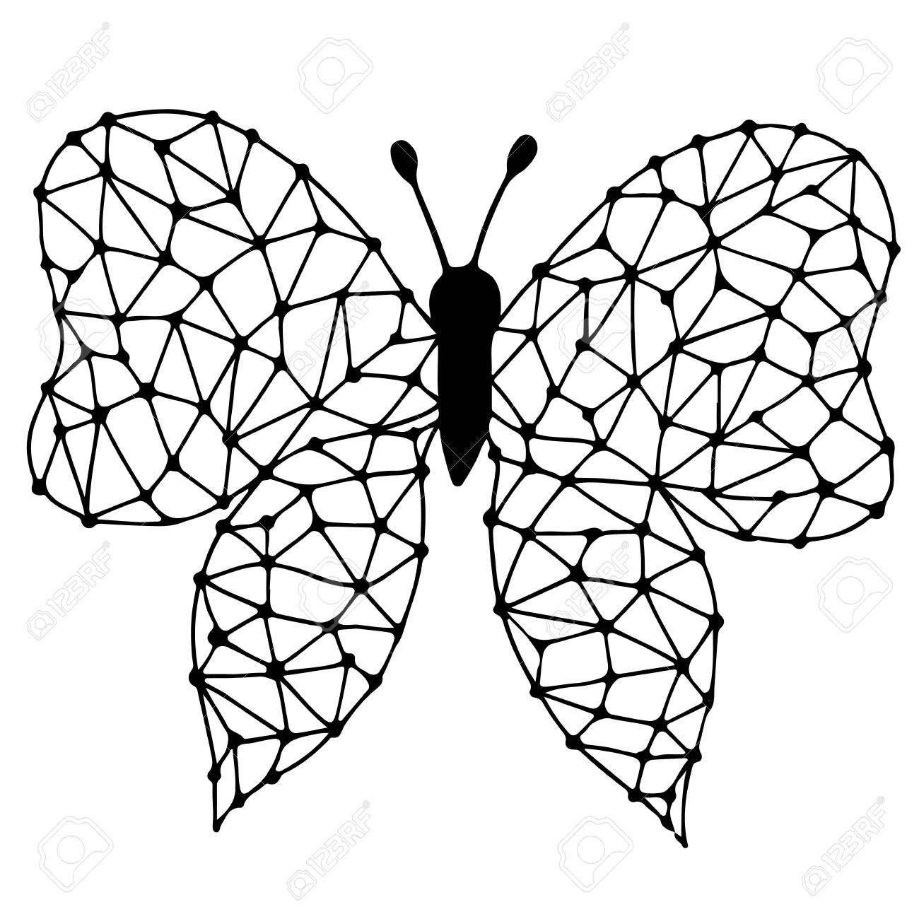 Black line butterfly for tattoo, coloring book. Can be used for..