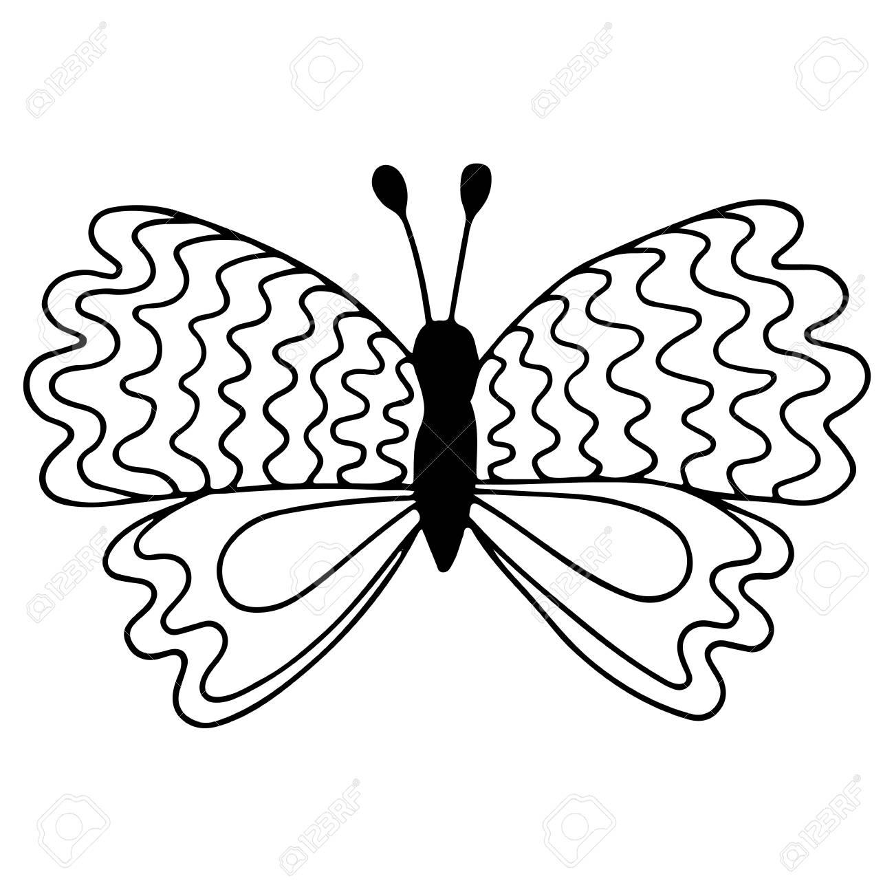 Mariposa Aislada Línea Negra Para El Tatuaje, Libro Para Colorear ...