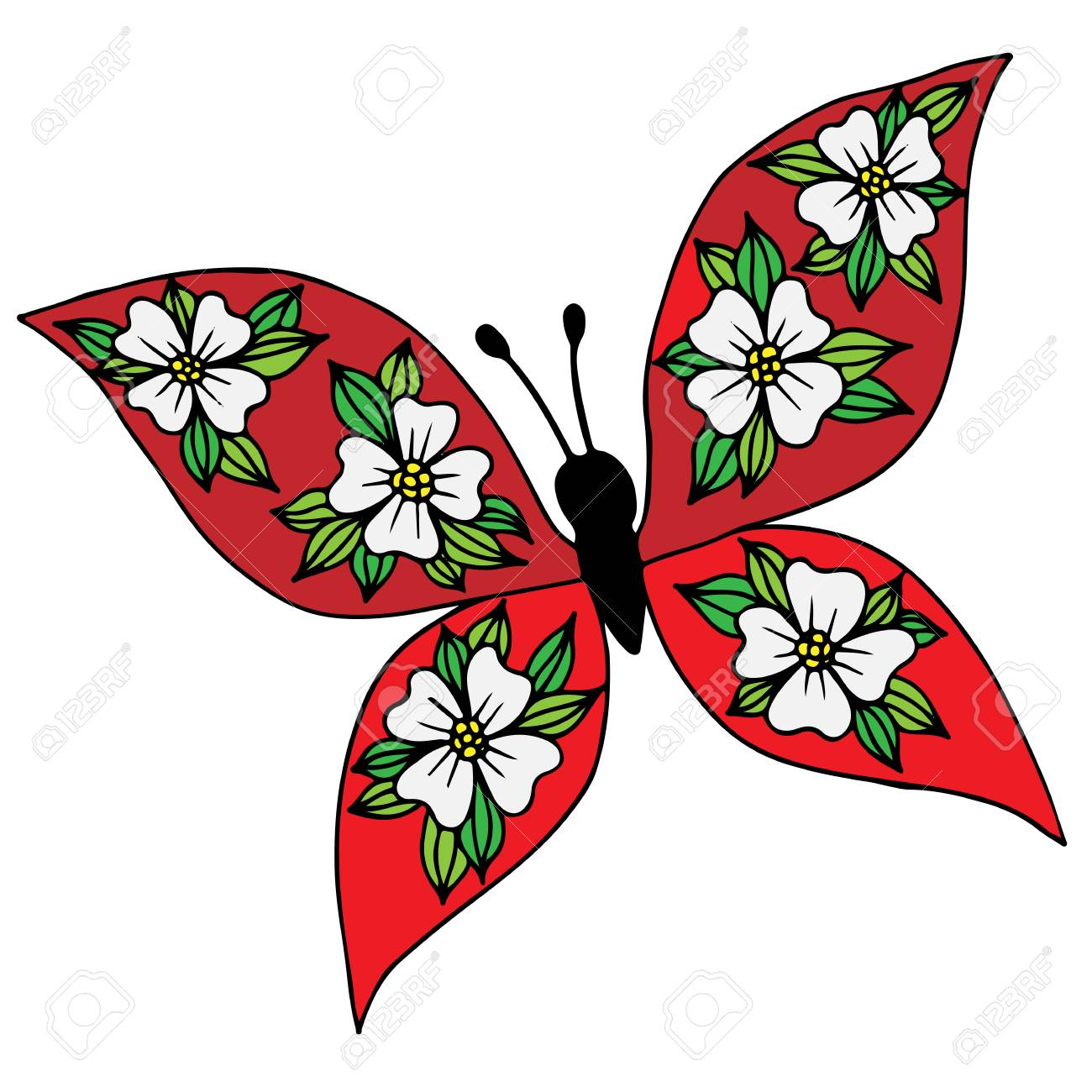 Colorful Isolated Butterfly With Flower On The Wing For Tattoo ...