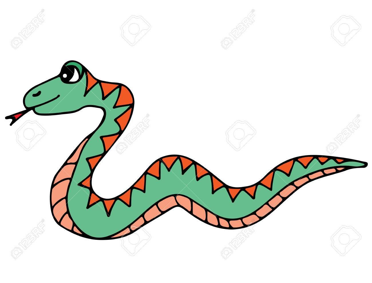 Linda Serpiente Colorida Aislada En El Fondo Blanco. Para Colorear ...