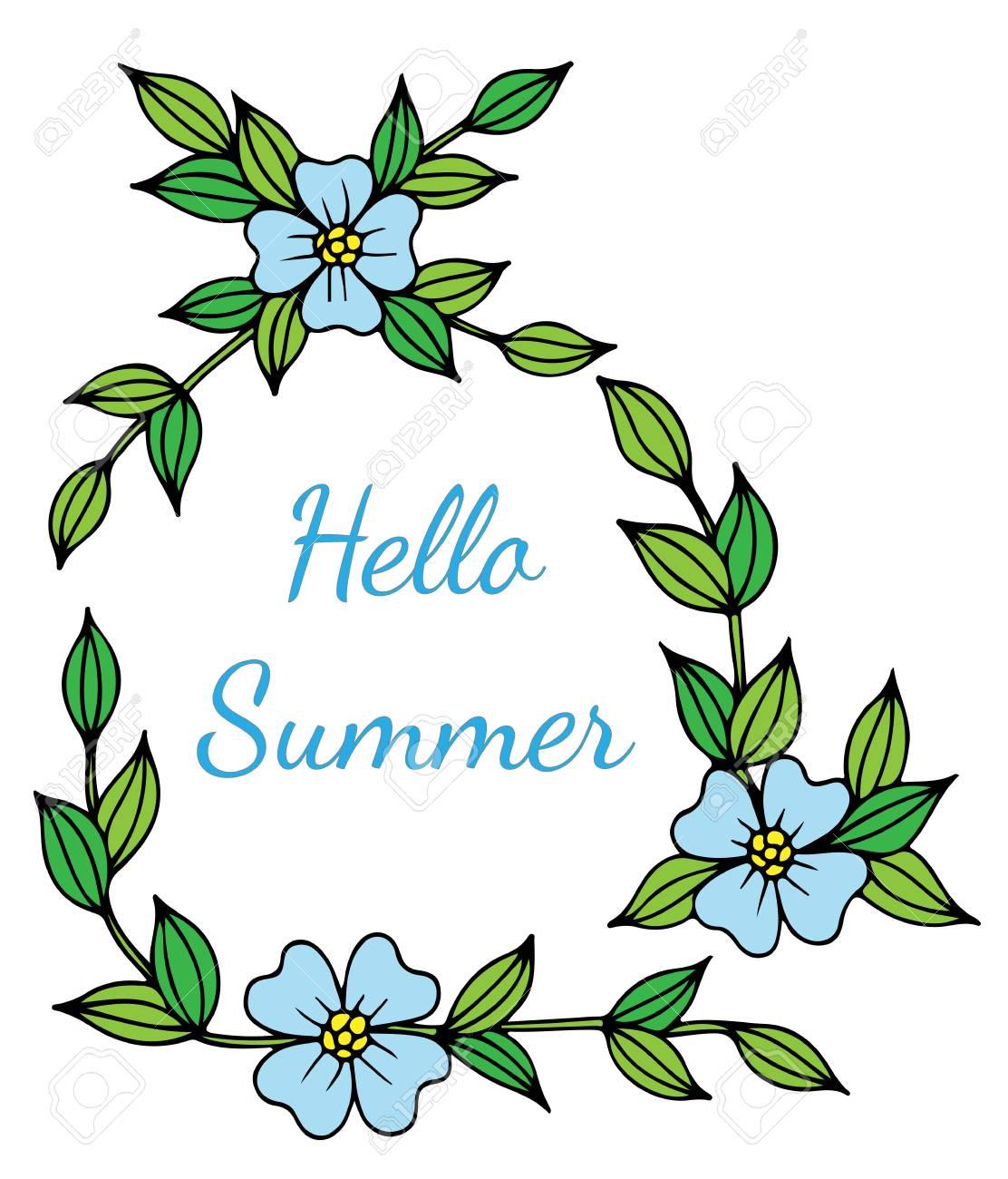 Hello summer blue lettering with flower phrase for card invitation hello summer blue lettering with flower phrase for card invitation posters stock stopboris Gallery