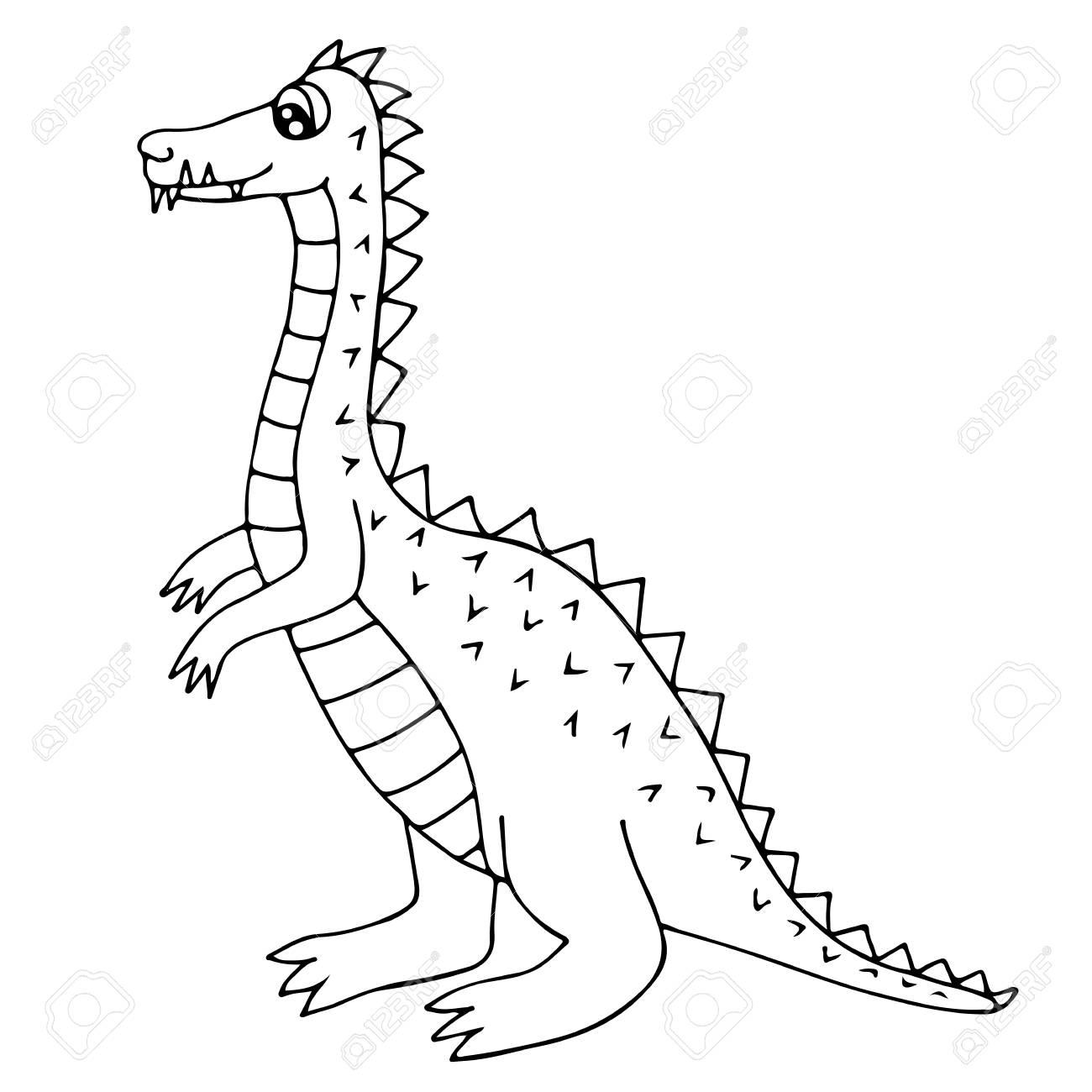 Lindo Dinosaurio O Dragón Aislado En El Fondo Blanco. Para Colorear ...