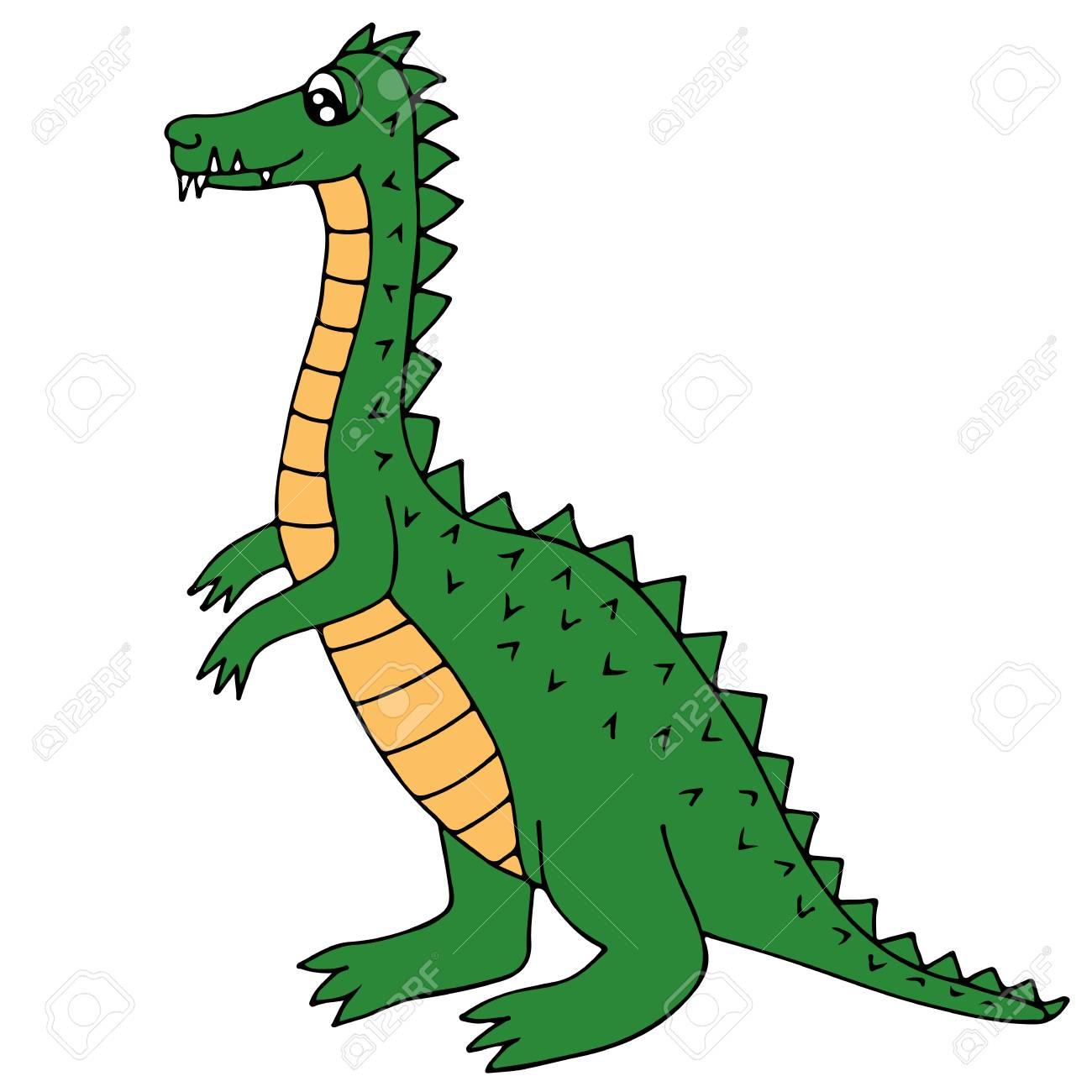 Lindo Dinosaurio Verde O Dragón Aislado En El Fondo Blanco. Para ...