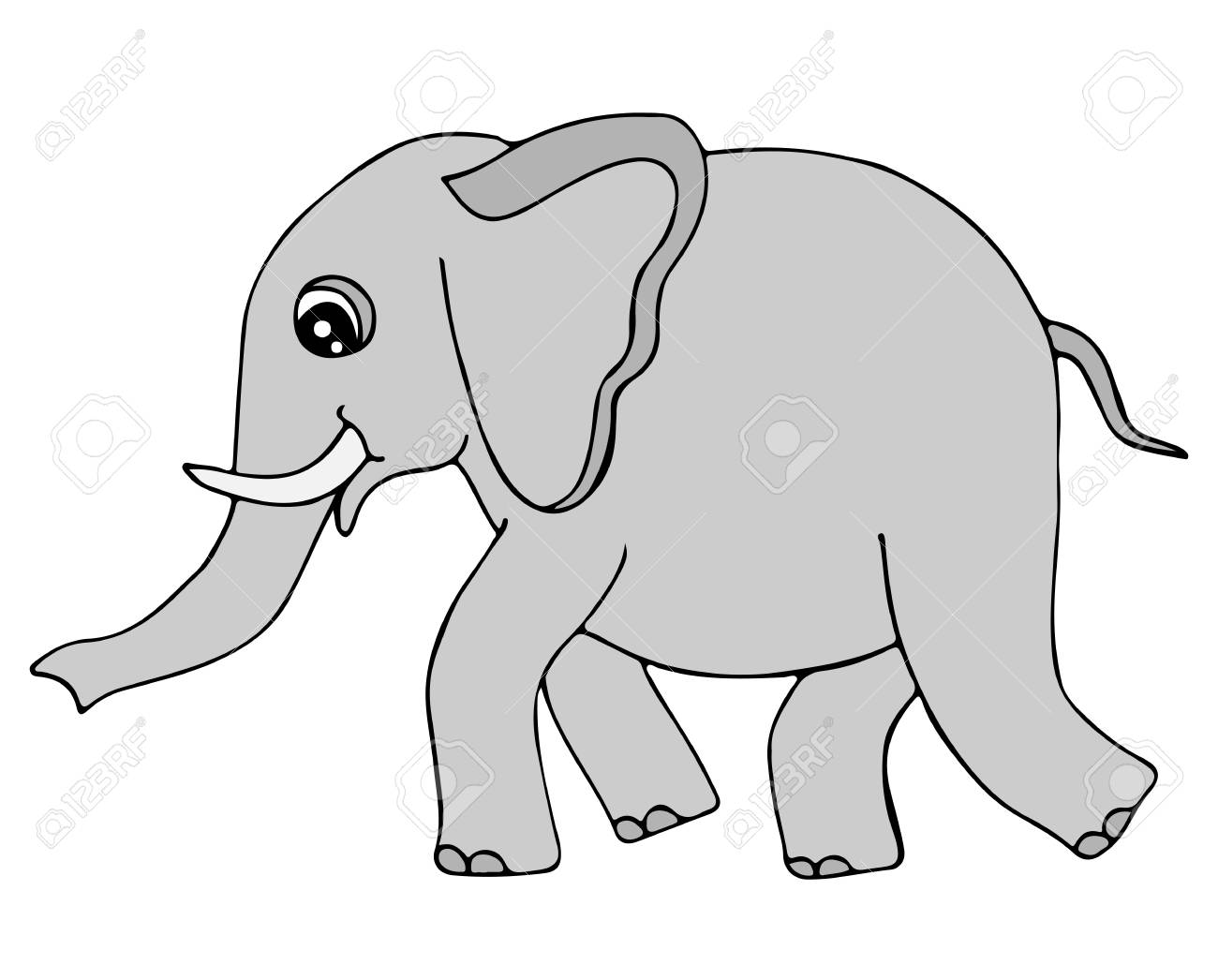 Cute Grey Color Elephant Isolated On The White Background. For ...