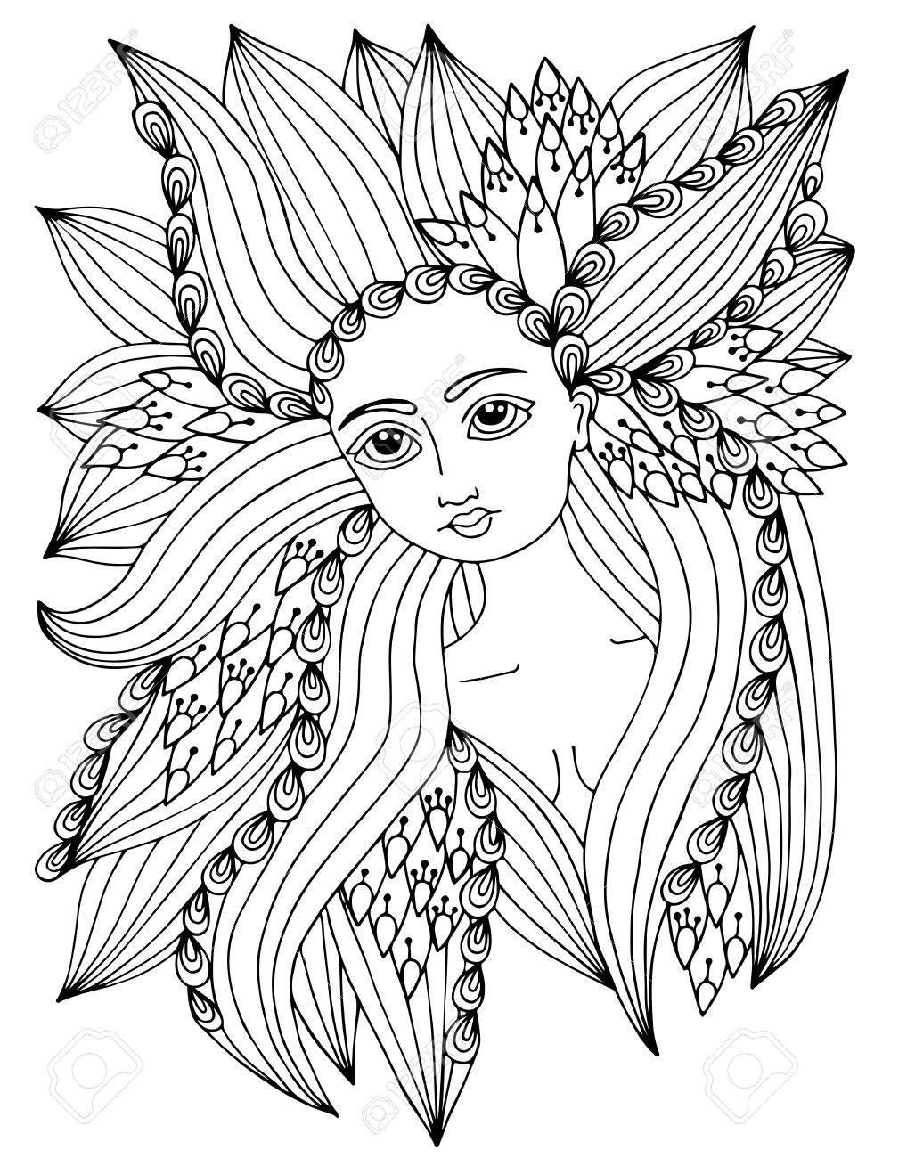 Retrato De La Mujer De La Belleza Con El Modelo Adornado Abstracto ...