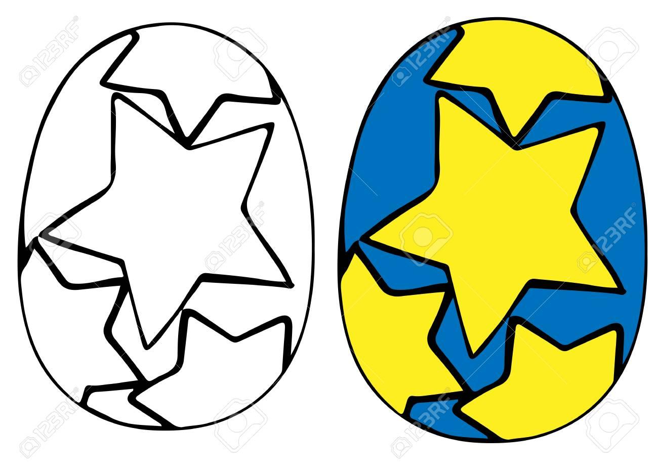 Hand drawn easter egg vector with big star easter traditional hand drawn easter egg vector with big star easter traditional symbol for card coloring buycottarizona