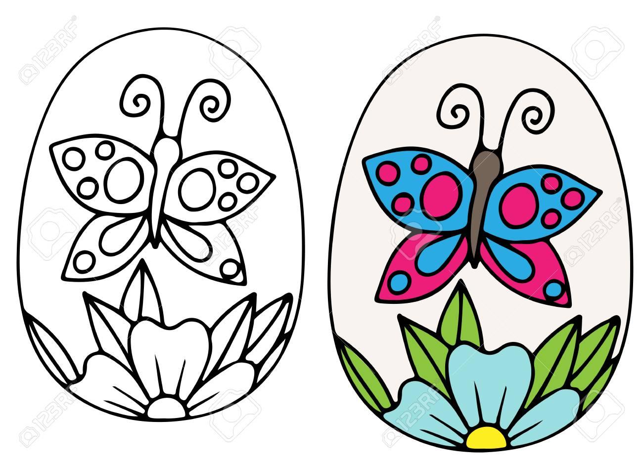 Mano Dibuja El Vector De Huevo De Pascua Con Flor Azul Y Mariposa ...
