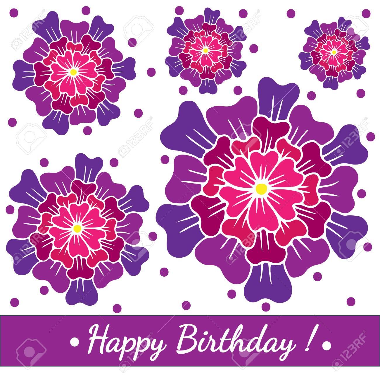 Cartolina D Auguri Del Modello Di Buon Compleanno Con Grande Fiore Rosa E Punti Viola Vector Birthday Card Stampabile Per Carta Invito Poster