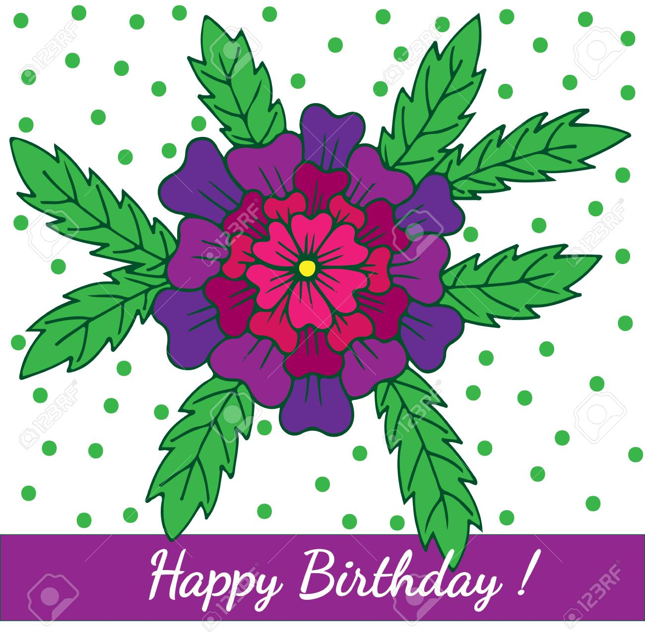 Happy Birthday Template Greeting Card With Big Violet Flower