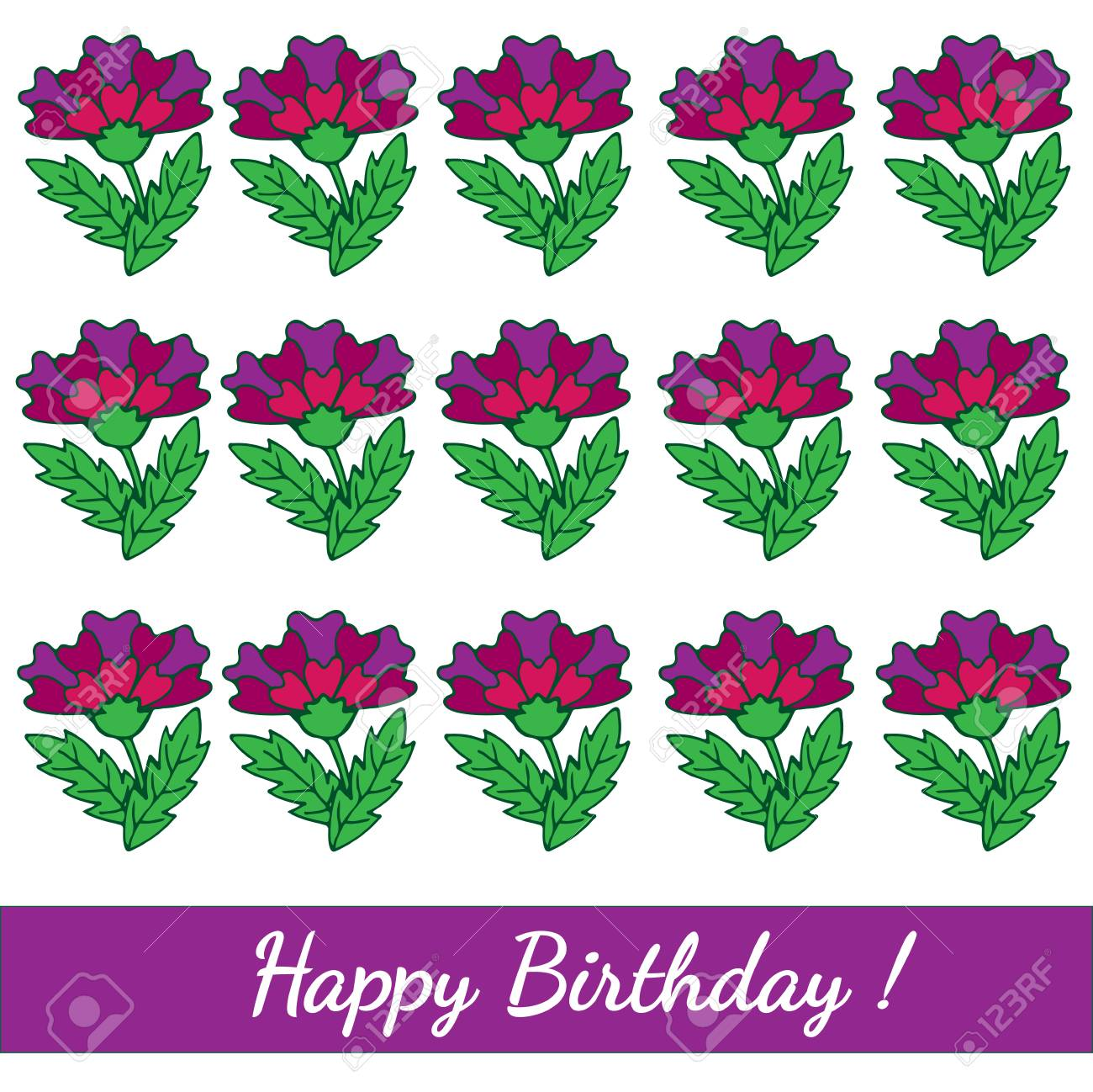 happy birthday template greeting card with colorful flower vector