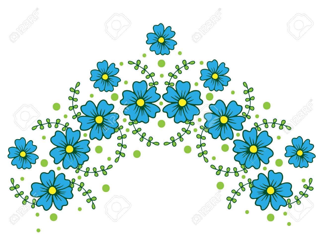 Decorative isolated floral half circle frames with blue flower decorative isolated floral half circle frames with blue flower vector flower wreath for card izmirmasajfo