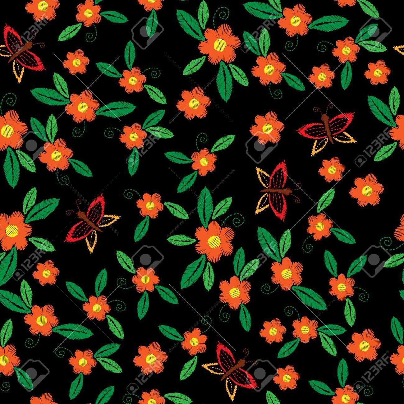Patrón De Bordado Sin Fisuras Con Mariposa Y Flor De Naranja Con Hoja  Verde. Fondo De Flor De Vector De Bordado Para Imprimir En Tela 6c435842faff7