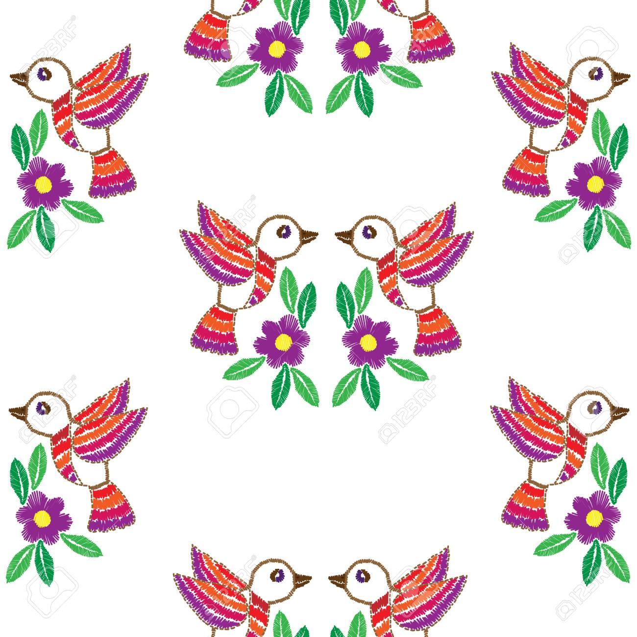 Patrón De Imitación De Bordado Inconsútil Con Aves Y Flores. Fondo ...