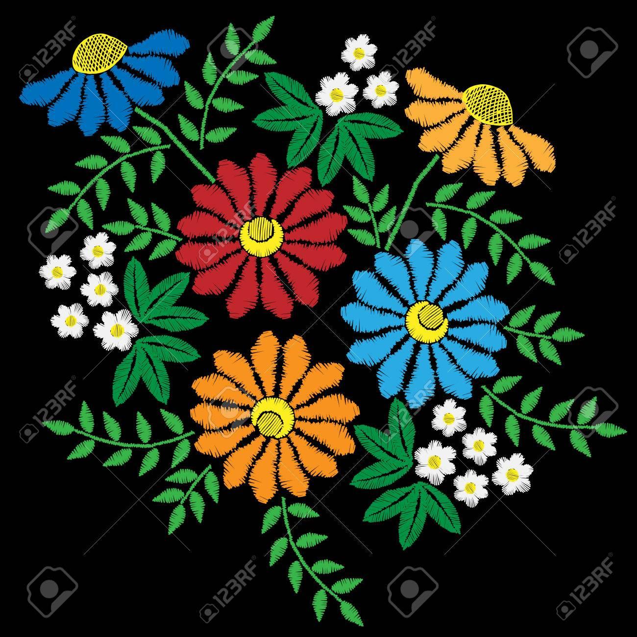 Puntadas De Bordado De Imitacion Con Flores De Colores Con Hojas