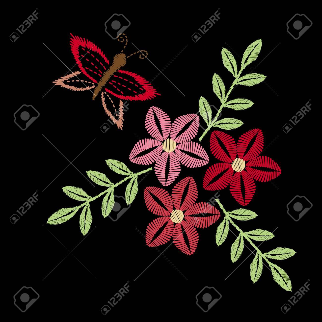 Colorido Bordado De Flores Y Mariposas De Imitación. Patrón Floral ...