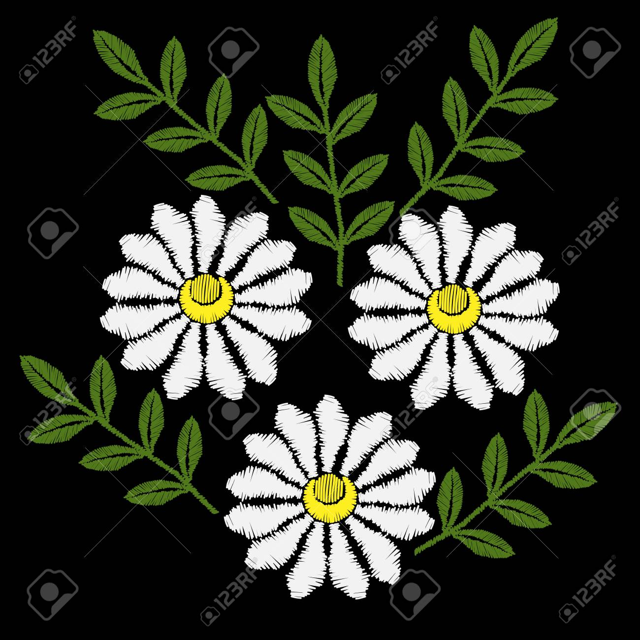 White Chamomile flower embroidery stitches imitation  Chamomiles