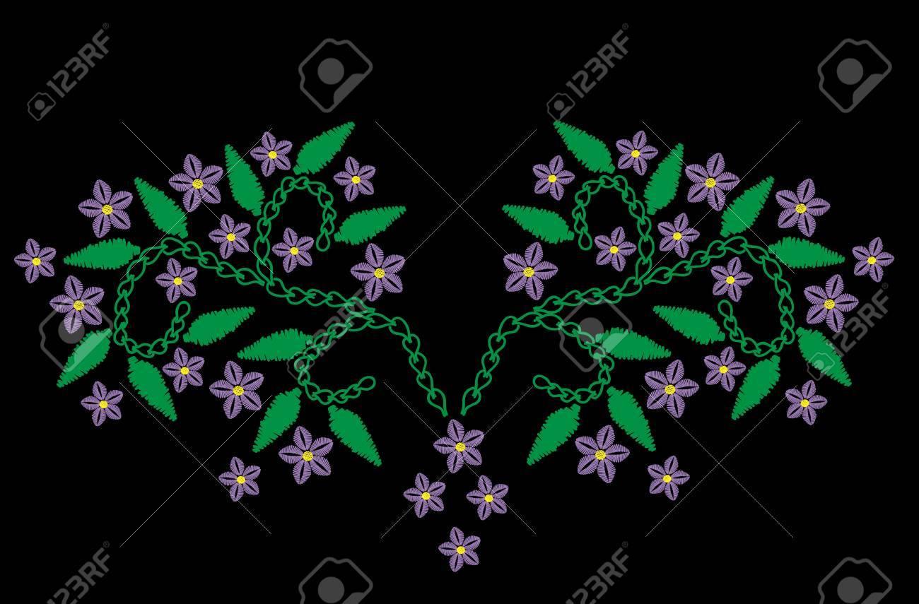 Flor Violeta Con Bordado De Ramas De Hojas De Imitación. Patrón ...