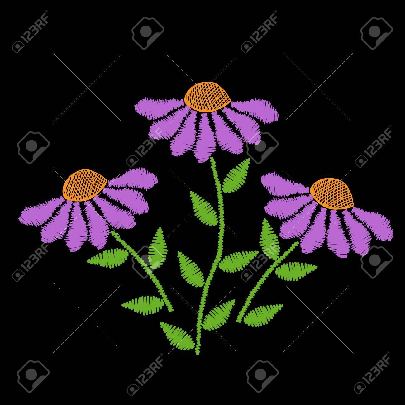 El Bordado Sutura La Flor De Imitación Con La Hoja Verde. Patrón Floral Del  Bordado En El Fondo Negro. Vector De La Plantilla De Bordado Para La  Impresión ... 2f05c877d0dbe