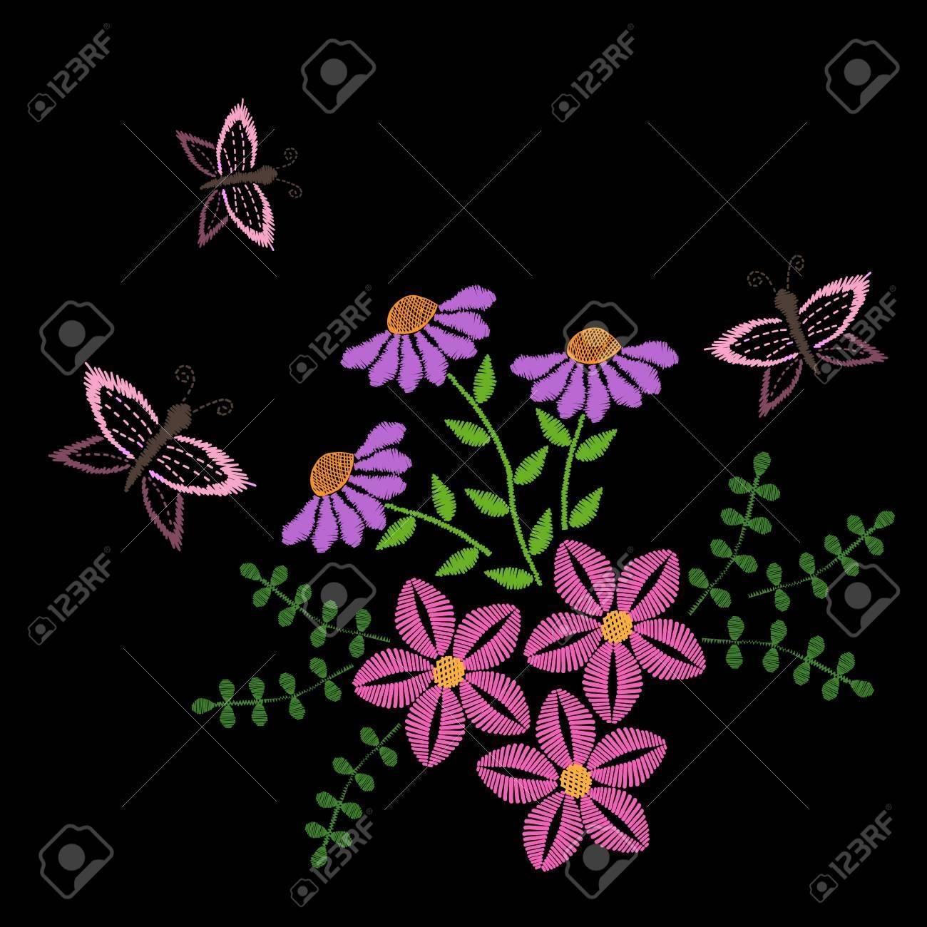 Puntadas De Bordado Imitacion De Flores Con Hojas Y Mariposas