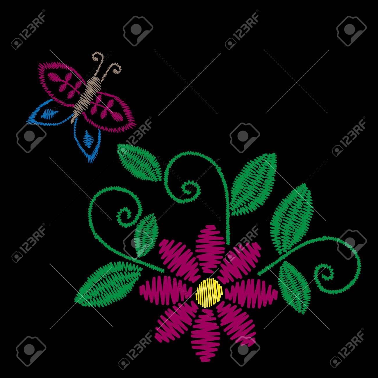 El Bordado Colorido Cose La Flor Popular De Imitación Con La ...