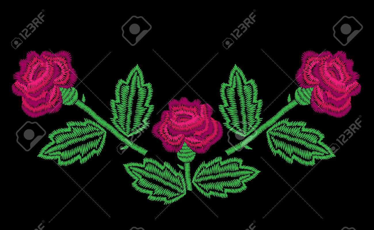 Puntadas De Bordado Imitación Patrón De Línea De Cuello Con Rosas ...