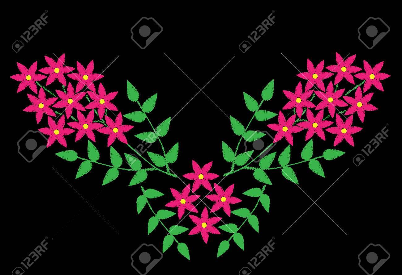 Bordado Puntadas Imitación Patrón étnico Floral Con Brunch Con ...