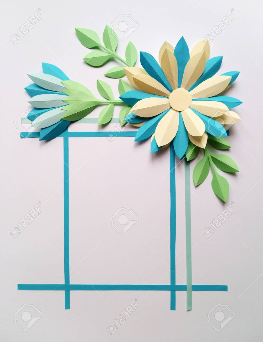 Square Frame With Blue Color Paper Flowers Nature Floral Concept