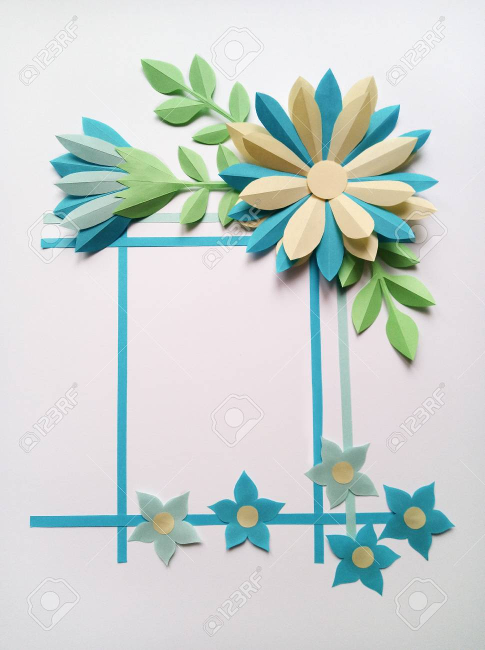 Square Frame With Blue Color Big And Little Paper Flowers Nature