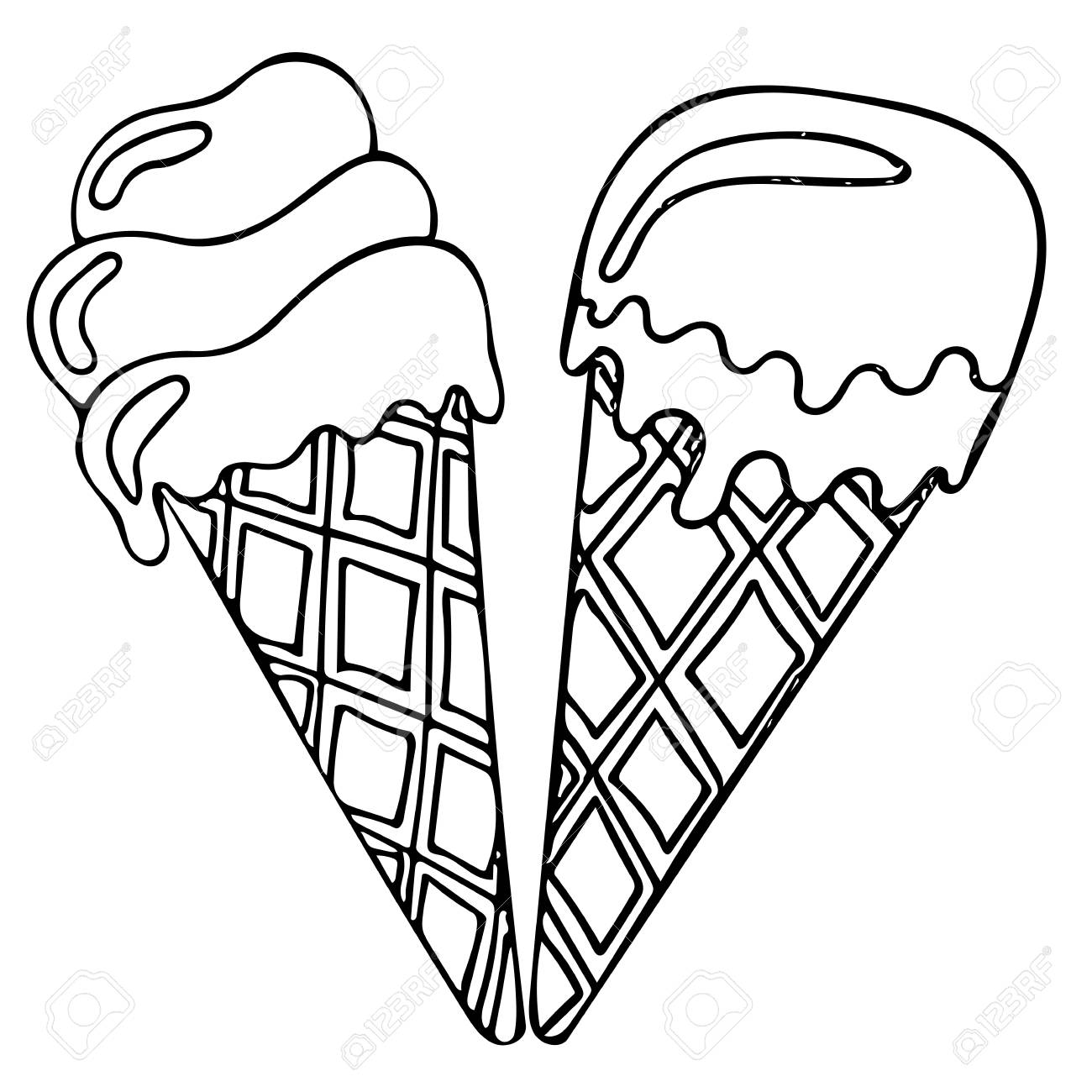 Sweet and tasty black line ice cream. Coloring book for kids..