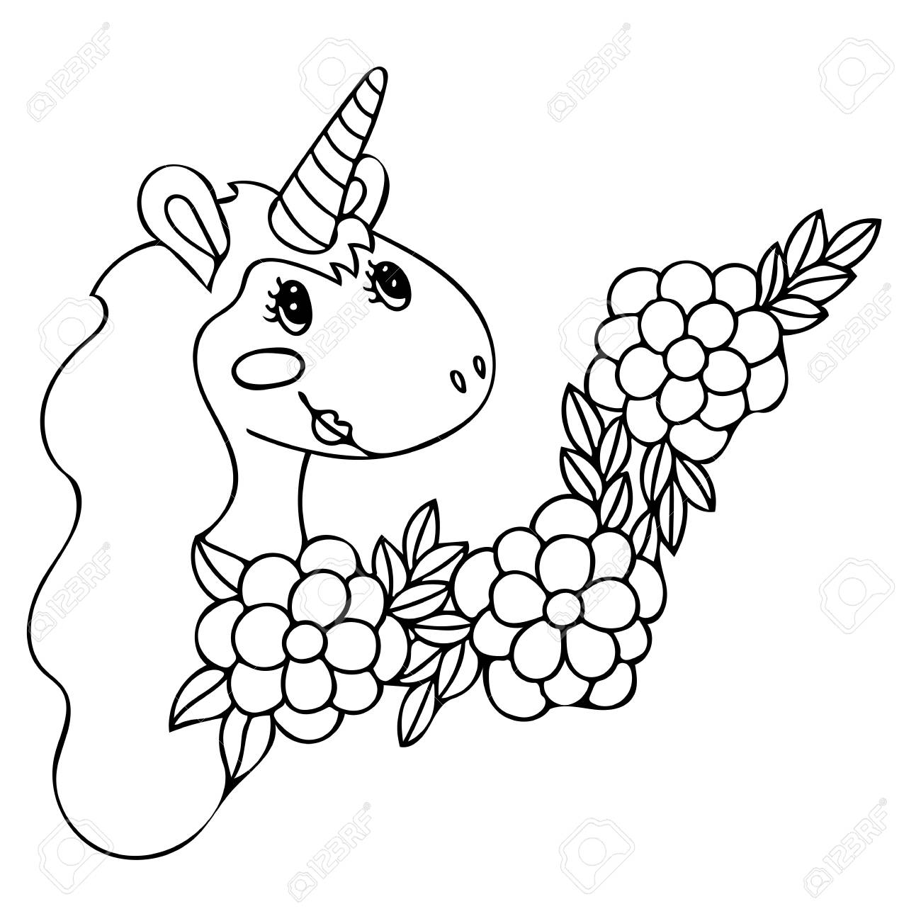 - Unicorn For Coloring Book. Magical Anima For Coloring Book Pages