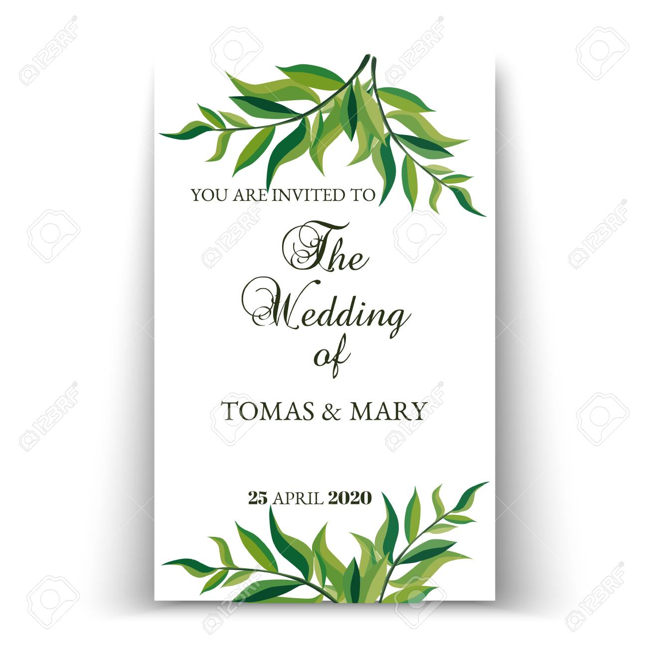 Wedding Invitation Template.Greenery Wedding Invitation Template Printable Wedding Invites