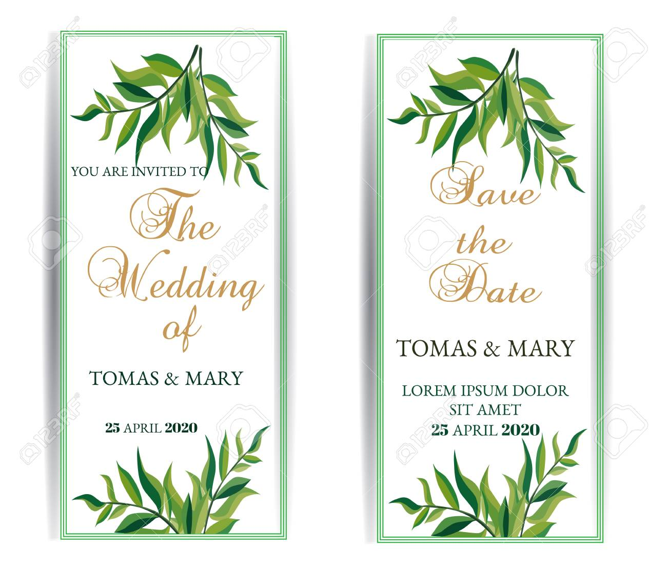 photograph regarding Wedding Cards Printable titled Greenery marriage invitation template established. Printable marriage invitations