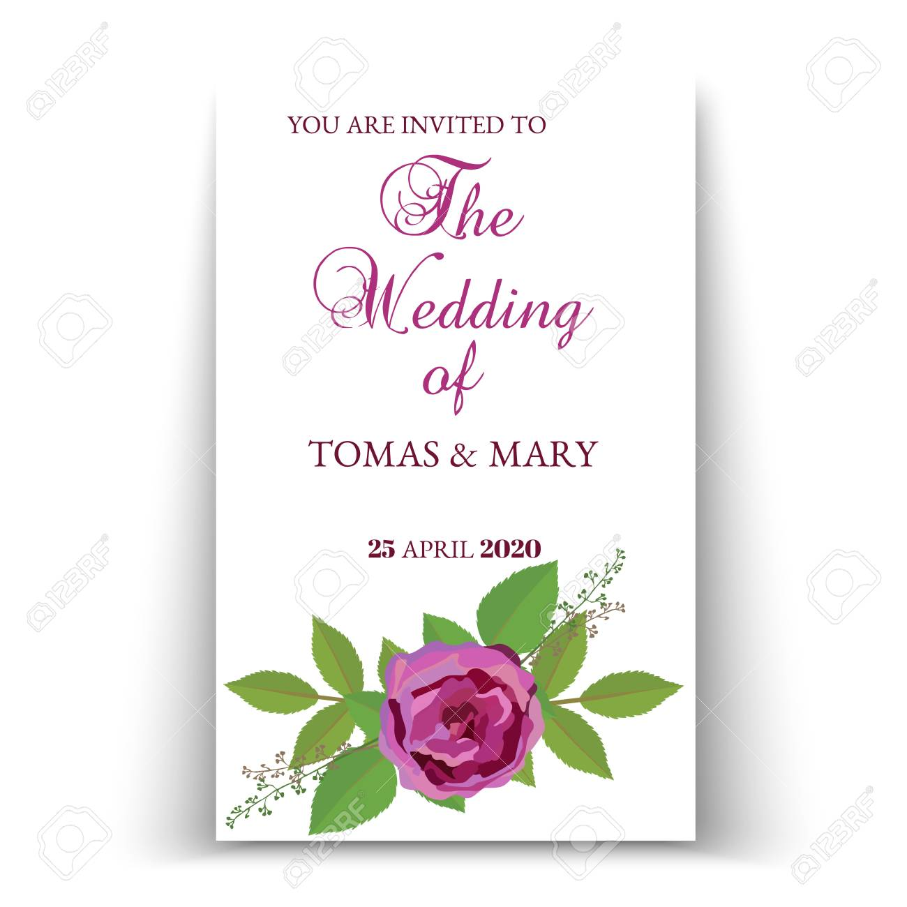 This is a picture of Printable Wedding Card pertaining to romantic