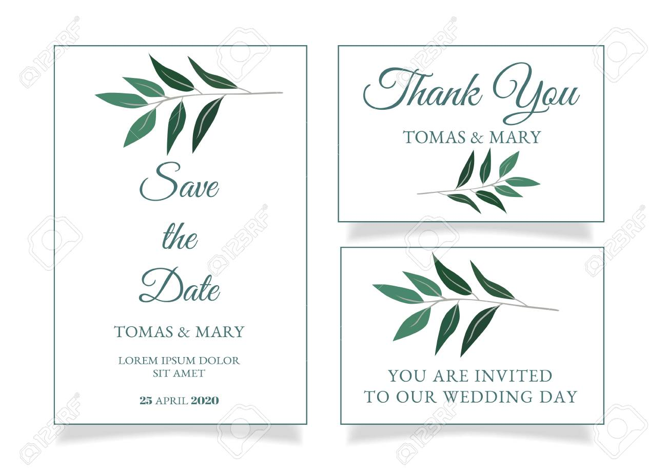 photo about Printable Invitations called Rustic marriage ceremony invitation template with very little eco-friendly leaf. Printable..