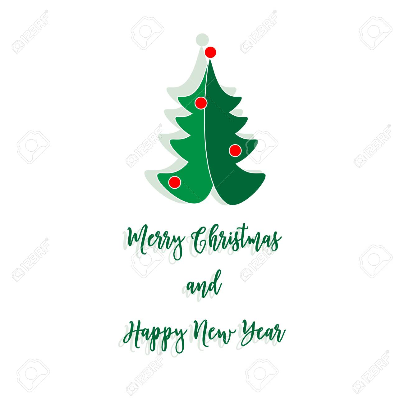 Merry Christmas Card With New Year Tree On The White Background